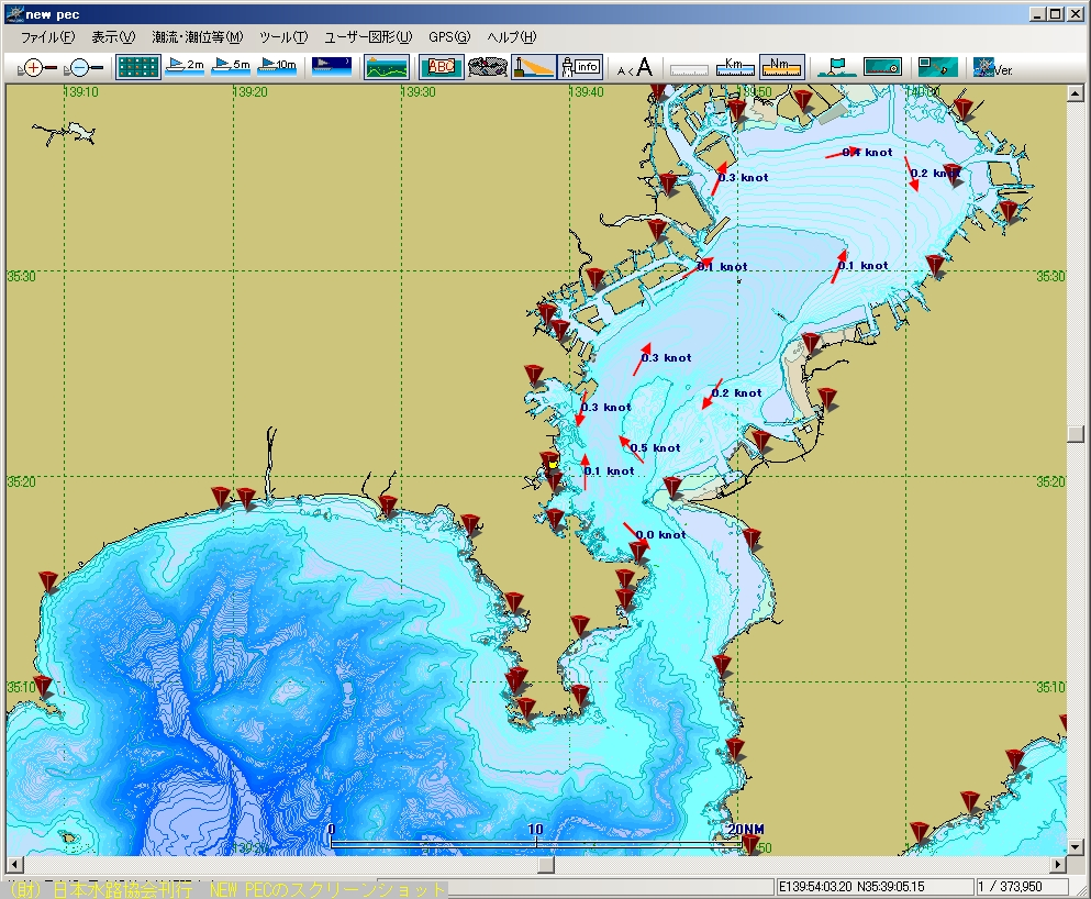 海底地形図を表示させると,通常设定の等深线涂り分けが海底地